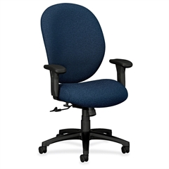 """HON Unanimous 7602 Executive High-Back Chair - Polyester Navy Blue, Acrylic Seat - Black Frame - Acrylic - 19"""" Seat Width x 20"""" Seat Depth27.1"""" Width x 40"""" Depth x 43.8"""" Height"""