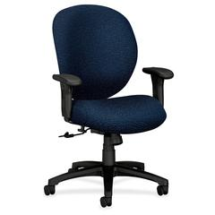 "HON Unanimous 7622 High-Performance Task Chair - Polyester Navy Blue, Acrylic Seat - Black Frame - 5-star Base - Polyester Fabric, Acrylic - 19"" Seat Width x 20"" Seat Depth - 27.1"" Width x 38"" Depth x"