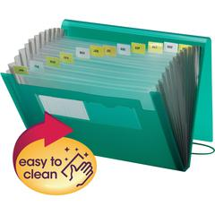 "Smead Poly Expanding Files - 9 1/4"" x 13"" Sheet Size - 7/8"" Expansion - 12 Pocket(s) - 12 Divider(s) - Polypropylene - Green - 1 Each"