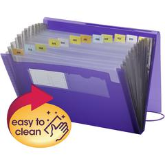 "Smead Poly Expanding Files - 9 1/4"" x 13"" Sheet Size - 7/8"" Expansion - 12 Pocket(s) - 12 Divider(s) - Polypropylene - Purple - 1 Each"