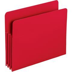 "Smead Poly File Pockets - Letter - 8 1/2"" x 11"" Sheet Size - 3 1/2"" Expansion - Polypropylene - Red - 4 / Box"