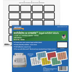 "Tabbies Legal Exhibits-U-Create 1"" Labels - 1 5/8"" Width x 1"" Length - Laser - White - 20 / Sheet - 240 / Pack"
