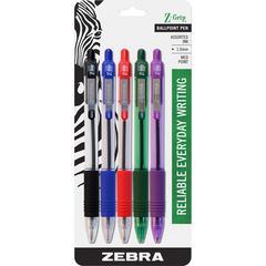 Zebra Pen Z-Grip Retractable Ballpoint Pens - Medium Point Type - 1 mm Point Size - Black, Green, Red, Purple, Cyan - Assorted Barrel - 5 / Set