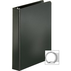 "Sparco Vinyl Ring Binders - 1"" Binder Capacity - Statement - 5 1/2"" x 8 1/2"" Sheet Size - 3 x Round Ring Fastener(s) - 2 Inside Front & Back Pocket(s) - Vinyl - Black - 1 Each"