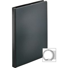 "Sparco Vinyl Ring Binders - 1/2"" Binder Capacity - Letter - 8 1/2"" x 11"" Sheet Size - 3 x Round Ring Fastener(s) - 2 Inside Front & Back Pocket(s) - Vinyl - Black - 1.08 lb - 1 Each"