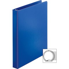 "Sparco Vinyl Ring Binders - 1"" Binder Capacity - Letter - 8 1/2"" x 11"" Sheet Size - 3 x Round Ring Fastener(s) - 2 Inside Front & Back Pocket(s) - Vinyl - Dark Blue - 1.25 lb - 1 Each"