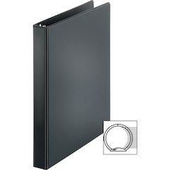 "Sparco Vinyl Ring Binders - 1"" Binder Capacity - Letter - 8 1/2"" x 11"" Sheet Size - 3 x Round Ring Fastener(s) - 2 Inside Front & Back Pocket(s) - Vinyl - Black - 1.25 lb - 1 Each"