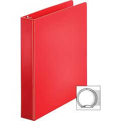 "Sparco Vinyl Ring Binders - 1 1/2"" Binder Capacity - Letter - 8 1/2"" x 11"" Sheet Size - 3 x Round Ring Fastener(s) - 2 Inside Front & Back Pocket(s) - Vinyl - Red - 1.42 lb - 1 Each"