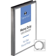 "Sparco Premium Round Ring View Binders - 1/2"" Binder Capacity - Letter - 8 1/2"" x 11"" Sheet Size - 3 x Round Ring Fastener(s) - 2 Internal Pocket(s) - Polypropylene - Black - 1 Each"