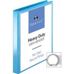 "Sparco Premium Round Ring View Binders - 1"" Binder Capacity - Letter - 8 1/2"" x 11"" Sheet Size - 3 x Round Ring Fastener(s) - 2 Internal Pocket(s) - Polypropylene - Light Blue - 1 Each"