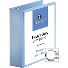 "Sparco Premium Round Ring View Binders - 3"" Binder Capacity - Letter - 8 1/2"" x 11"" Sheet Size - 3 x Round Ring Fastener(s) - 2 Internal Pocket(s) - Polypropylene - Light Blue - 1 Each"