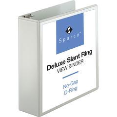 "Sparco Deluxe Slant Ring View Binders - 3"" Binder Capacity - Letter - 8 1/2"" x 11"" Sheet Size - 3 x D-Ring Fastener(s) - 2 Internal Pocket(s) - Vinyl, Polypropylene - White - 1 Each"