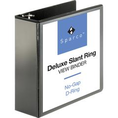 "Sparco Deluxe Slant Ring View Binders - 4"" Binder Capacity - Letter - 8 1/2"" x 11"" Sheet Size - 3 x D-Ring Fastener(s) - 2 Internal Pocket(s) - Vinyl, Polypropylene - Black - 1 Each"