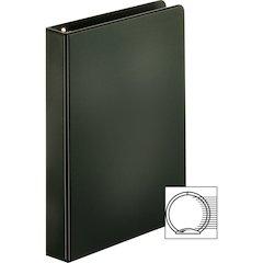 "Sparco Vinyl Ring Binders - 1"" Binder Capacity - 6"" x 9 1/2"" Sheet Size - 3 x Round Ring Fastener(s) - 2 Inside Front & Back Pocket(s) - Vinyl - Black - 14.72 oz - 1 Each"