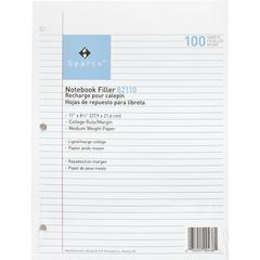 """Sparco Notebook Filler Paper - Letter - 100 Sheets - Ruled Red Margin - 16 lb Basis Weight - 8 1/2"""" x 11"""" - White Paper - Subject - 100 / Pack"""