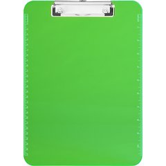 "Sparco Plastic Clipboards w/ Flat Clip - 9"" x 12"" - Low-profile - Plastic - Neon Green"