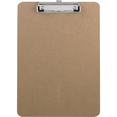 "Sparco Flat Clip Rubber Grip Hardboard Clipboard - 9"" x 12.50"" - Hardboard - Brown"