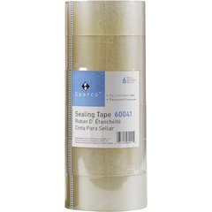 """Sparco Heavyweight Package Sealing Tape - 1.88"""" Width x 54.67 yd Length - 3"""" Core - Pressure-sensitive Poly - 3.50 mil - 6 / Pack - Clear"""