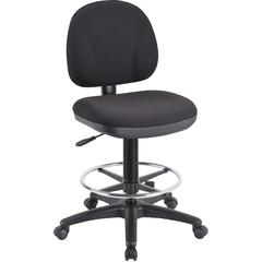 "Lorell Pneumatic Adjustable Multi-task Stool - Black Seat - Black - 24"" Width x 24"" Depth x 50.5"" Height"