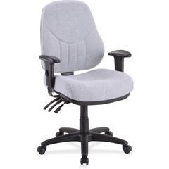 "Lorell Baily High-Back Multi-Task Chair - Acrylic Gray Seat - Black Frame - 26.9"" Width x 28"" Depth x 44"" Height"