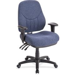 "Lorell Baily High-Back Multi-Task Chair - Acrylic Blue Seat - Black Frame - 26.9"" Width x 28"" Depth x 44"" Height"