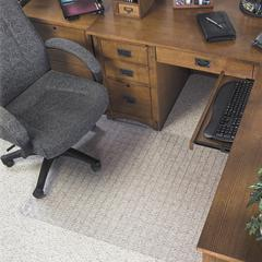 "deflecto DuraMat Checkered Chairmats - Office, Carpeted Floor - 60"" Length x 46"" Width - Clear"