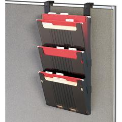 "deflecto Hanging File Wall Pockets - 3 Pocket(s) - 25"" Height x 12.6"" Width x 3.9"" Depth - Wall Mountable - Smoke - 3 / Set"
