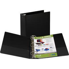 "Samsill Round Ring Value Storage Binder - 3"" Binder Capacity - Letter - 8 1/2"" x 11"" Sheet Size - 3 x Round Ring Fastener(s) - Inside Front & Back Pocket(s) - Vinyl - Black - Recycled - 1Each"