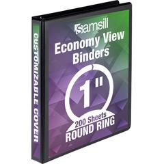 "Samsill Economy Round Ring View Binders - 1"" Binder Capacity - Letter - 8 1/2"" x 11"" Sheet Size - 225 Sheet Capacity - 3 x Ring Fastener(s) - 2 Internal Pocket(s) - Polypropylene, Chipboard - Black -"