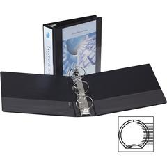"Samsill Economy Round Ring View Binders - 3"" Binder Capacity - Letter - 8 1/2"" x 11"" Sheet Size - 575 Sheet Capacity - 3 x Ring Fastener(s) - 2 Internal Pocket(s) - Polypropylene, Chipboard - Black -"