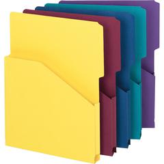 """Smead Expanding Slash Jacket - Letter - 8 1/2"""" x 11"""" Sheet Size - 1"""" Expansion - 2/5 Tab Cut - 11 pt. Folder Thickness - Assorted - Recycled - 5 / Pack"""