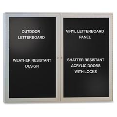"""Ghent Outdoor Letterboards - 36"""" Height x 48"""" Width - Weather Resistant, Shatter Resistant, Lock, Water Resistant, Mounting System - Satin Aluminum Frame - 1 Each"""
