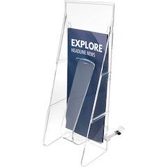 "deflecto Stand-Tall Countertop Unit - 1 Pocket(s) - 11.8"" Height x 4.6"" Width x 5.3"" Depth - Floor - Clear - 1Each"