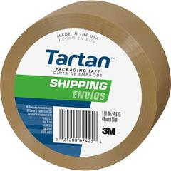 "Tartan General Purpose Packaging Tape - 1.88"" Width x 54.60 yd Length - 3"" Core - Synthetic Rubber Resin - 1.90 mil - Rubber Resin Backing - 1 / Roll - Tan"