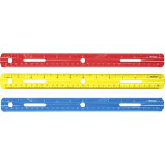 "Westcott 12"" Plastic Ruler - 12"" Length - 1/16 Graduations - Imperial, Metric Measuring System - Plastic - 1 Each - Assorted"