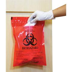 "CareTek Stick-On Biohazard Infectious Red Waste Bags - 1.40 quart - 12"" Width x 14"" Length - 2 mil (51 Micron) Thickness - Red - 100/Box"