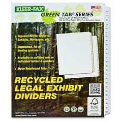 "Kleer-Fax Legal Exhibit Index Dividers - 25 x Divider(s) - Printed Tab(s) - Digit - 76-100 - 25 Tab(s)/Set - 8.5"" Divider Width x 11"" Divider Length - Letter - White Divider - White Tab(s) - 25 / Set"