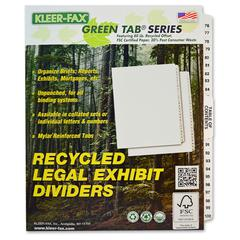 "Kleer-Fax Legal Exhibit Index Dividers - 25 Printed Tab(s) - Digit - 76-100 - 26 Tab(s)/Set - 8.5"" Divider Width x 11"" Divider Length - Letter - White Divider - White Tab(s) - 25 / Set"