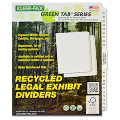 "Kleer-Fax Legal Exhibit Index Dividers - 25 Printed Tab(s) - Digit - 51-75 - 26 Tab(s)/Set - 8.5"" Divider Width x 11"" Divider Length - Letter - White Divider - White Tab(s) - 25 / Set"