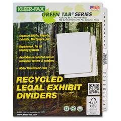 "Kleer-Fax Legal Exhibit Index Dividers - 25 Printed Tab(s) - Digit - 1-25 - 26 Tab(s)/Set - 8.5"" Divider Width x 11"" Divider Length - Letter - White Divider - White Tab(s) - 25 / Set"