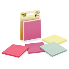 "Notes, 3 in x 3 in, Marseille Color Collection - 200 - 3"" x 3"" - Square - 50 Sheets per Pad - Unruled - Assorted - Paper - Self-adhesive - 4 Pad"