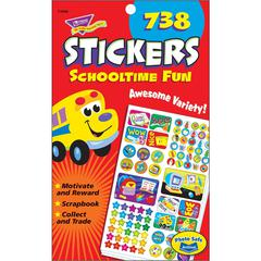 """Trend Schooltime Fun Sticker Pads - Self-adhesive - 9.50"""" Height x 5.75"""" Width - 738 / Pad"""
