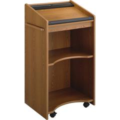 "Safco 8918 Executive Mobile Lectern - Rectangle Top - 23.75"" Table Top Width x 20"" Table Top Depth - 46"" Height x 25.25"" Width x 19.75"" Depth - Laminated, Medium Oak"