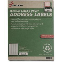 "SKILCRAFT Address Label - 1.75"" Width x 0.5"" Length - 100 / Box - Rectangle - Laser, Inkjet - Bright White"
