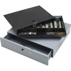 "Sparco Removable Tray Cash Drawer - Gray - 3.8"" Height x 17.8"" Width x 15.8"" Depth"