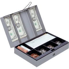 "Sparco Steel Combination Lock Steel Cash Box - 6 Coin - Steel - Gray - 3.2"" Height x 11.5"" Width x 7.8"" Depth"