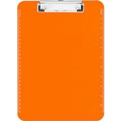 "Sparco Plastic Clipboards w/ Flat Clip - 9"" x 12"" - Low-profile - Plastic - Neon Orange"