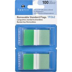 "Sparco Removable Standard Flags Dispenser - 100 x Blue - 1.75"" x 1"" - Rectangle - Green - See-through, Self-adhesive, Removable - 1 / Pack"