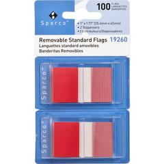 "Sparco Removable Standard Flags Dispenser - 100 x Red - 1.75"" x 1"" - Rectangle - Red - See-through, Self-adhesive, Removable - 1 / Pack"