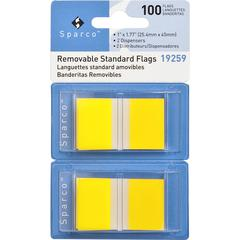 "Sparco Removable Standard Flags Dispenser - 100 x Blue - 1.75"" x 1"" - Rectangle - Yellow - See-through, Self-adhesive, Removable - 1 / Pack"